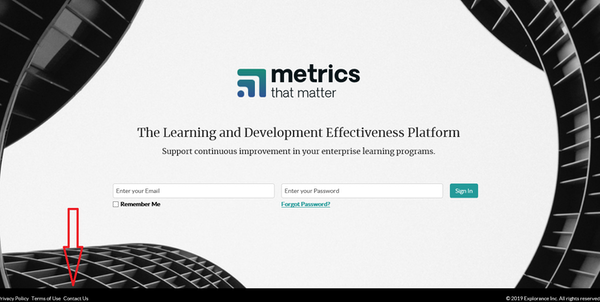 Metrics That Matter login page