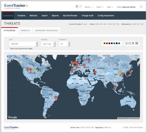 EventTracker threat detection