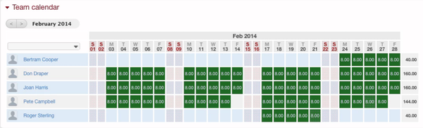 BeeBole Timesheet team calendar screenshot