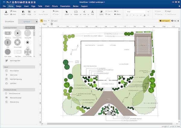 SmartDraw landscape drawing screenshot
