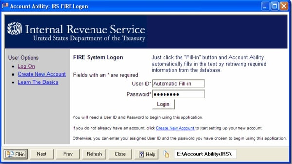 Account Ability IRS FIRE logon