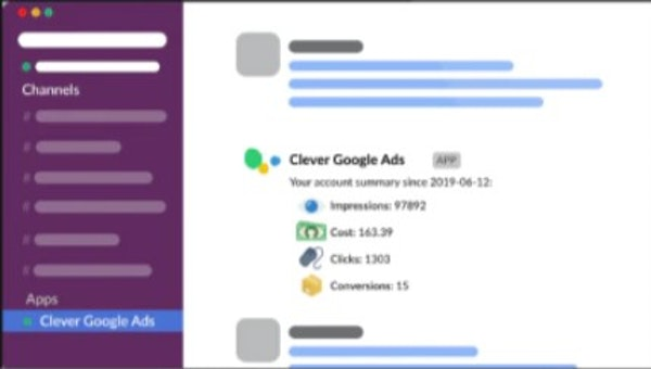 Clever Ads for Slack & MS Teams account summary