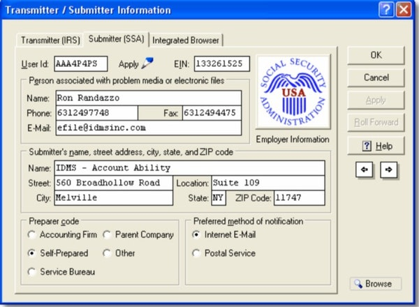 Account Ability transmitter/submitter information