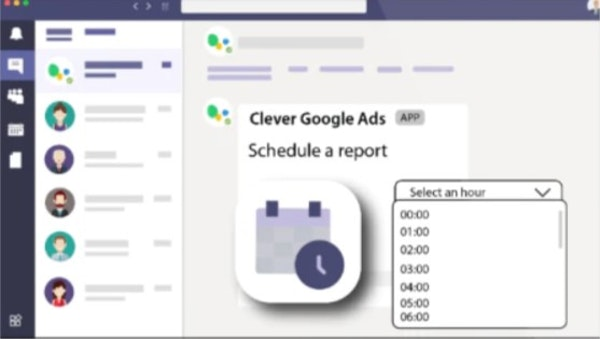 Clever Ads for Slack & MS Teams scheduled reporting