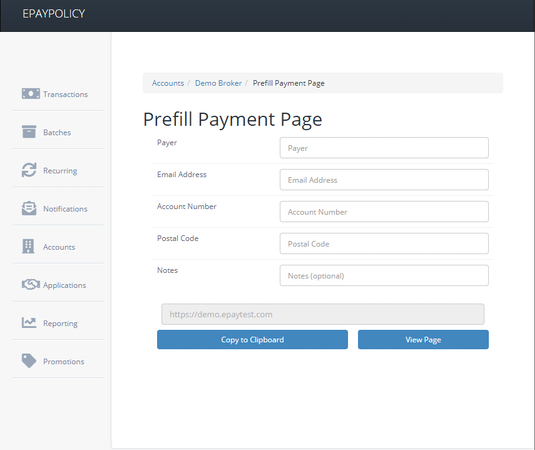 ePayPolicy prefill payment page