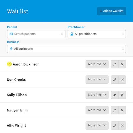 Cliniko wait list