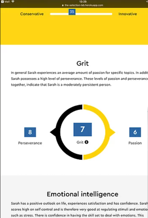 The Selection Lab grit score