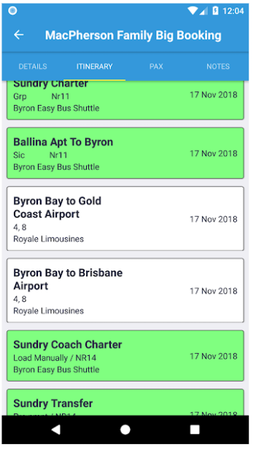 Tourplan booking search results