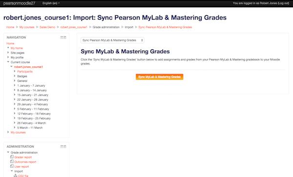 MyLab grades synchronization