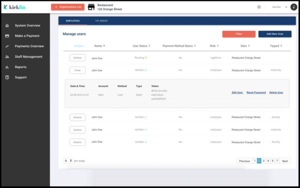 Kickfin user management