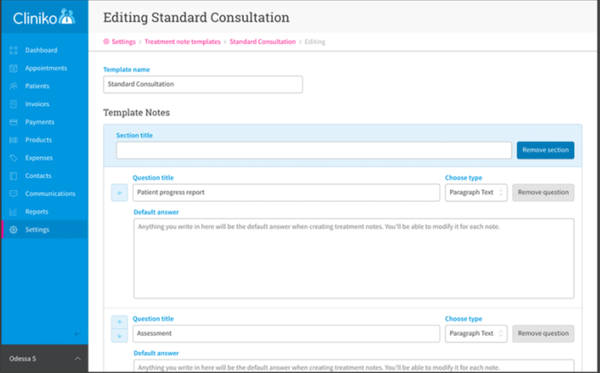 Cliniko consultation