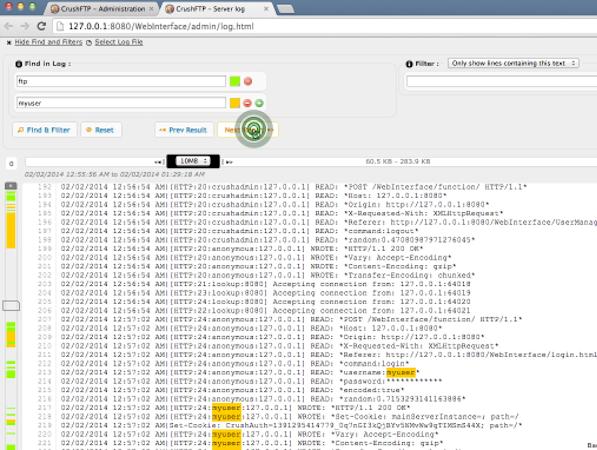 CrushFTP log viewer