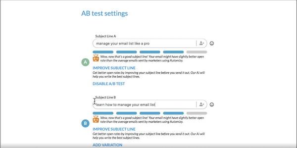 Automizy AB test setting