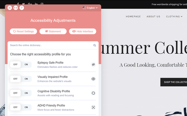 accessiBe accessibility adjustment