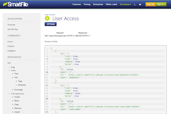 SmartFile access management via API