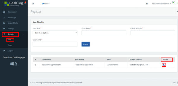 Desklog.io user registration