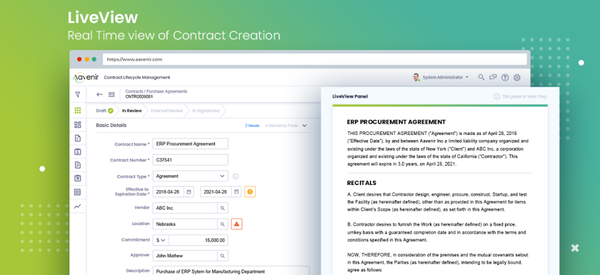 Aavenir Contract Lifecycle Management  live view