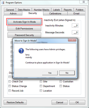 Calibration Control activating sign-in mode