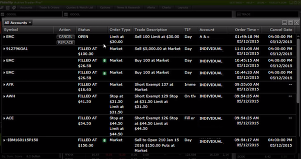 Active Trader Pro orders