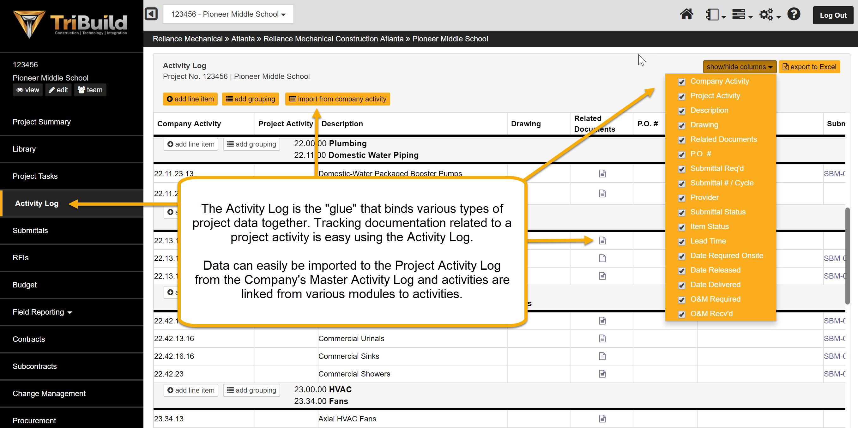 TriBuild Construction Management - TriBuild Construction Management activity log screenshot.