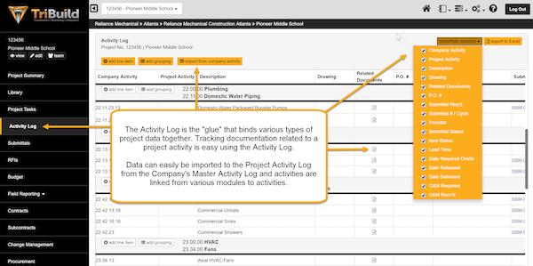 TriBuild Construction Management activity log screenshot.
