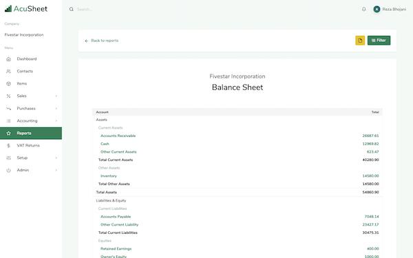 AcuSheet balance sheet