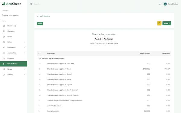 AcuSheet VAT returns