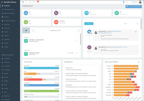 Ad Sales Genius dashboard screenshot
