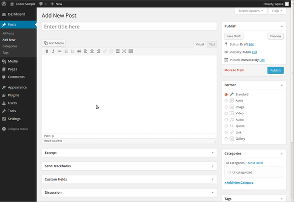 WordPress new blog post