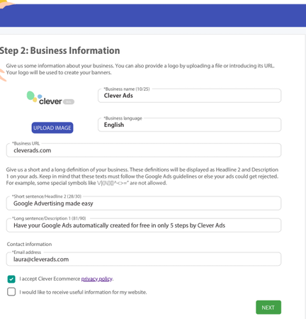 Google Ads Creator updating business information