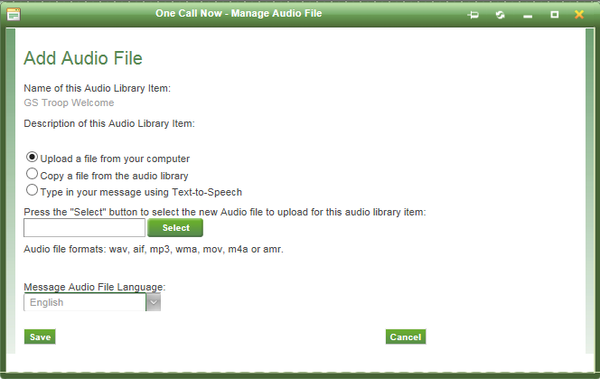 Adding audio file