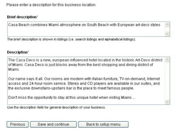 WebReserv adding description screenshot