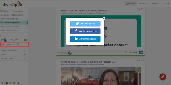 DrumUp adding social accounts