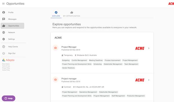 Adepto opportunities portal