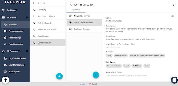 TRUENDO admin center activities screenshot