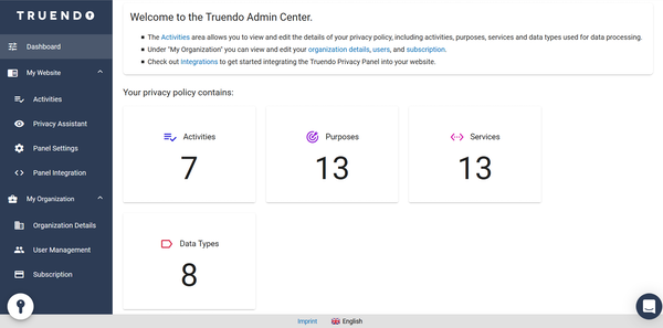 TRUENDO admin center login screenshot