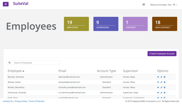 SuiteVal employee accounts screenshot