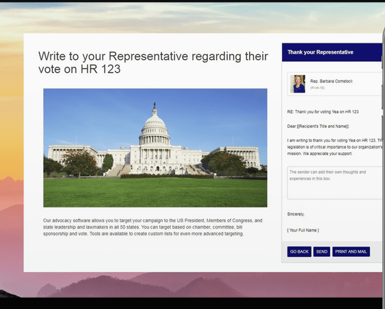 Congress Plus Advocacy draft screenshot