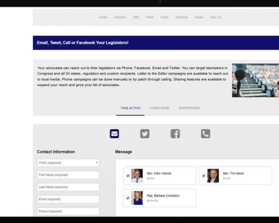 Congress Plus Advocacy Communication dashboard screenshot