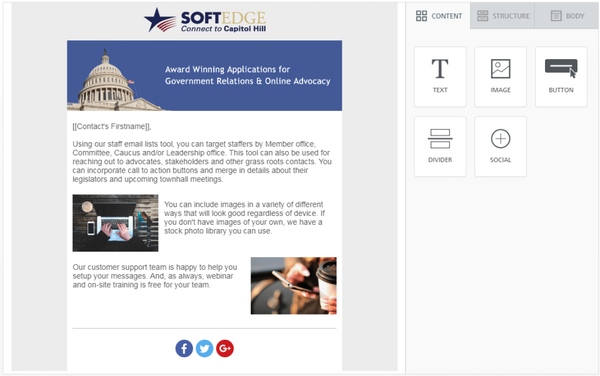 Congress Plus Advocacy template screenshot