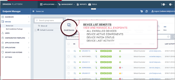 Advanced Endpoint Protection device status screenshot