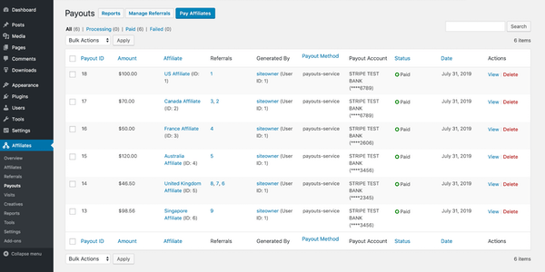 AffiliateWP Payout List