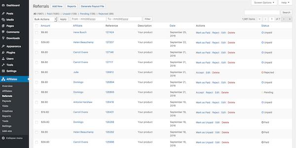 AffiliateWP Referral List