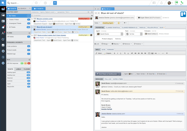 Deskpro agent interface
