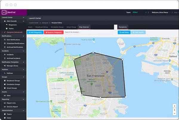 AlertFind map selection