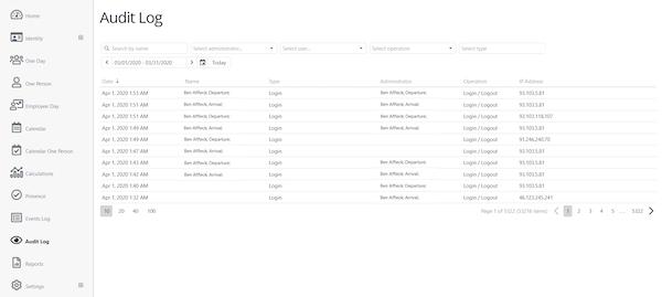 All Hours audit log