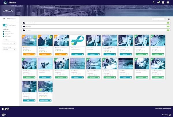 Absorb LMS Altatravel catalog dashboard screenshot
