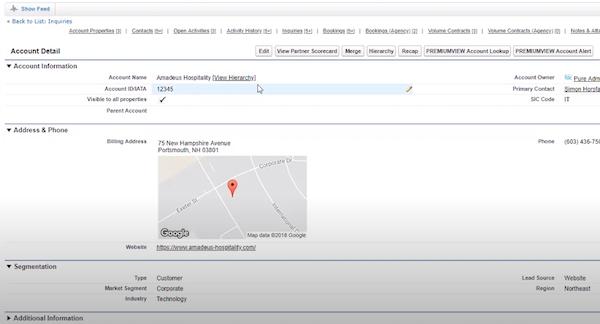 Amadeus Sales & Event Management account detail