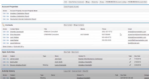 Amadeus Sales & Event Management account properties