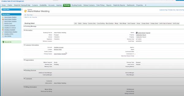 Amadeus Sales & Event Management bookings